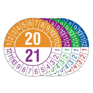 Prüfplaketten mit Jahresfarben (übergreifend, 2 Jahre), 2020 / 2021 - 2023 / 2024, Bogen