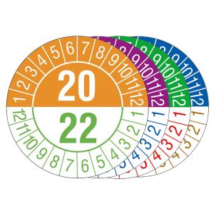 Prüfplaketten mit Jahresfarben (übergreifend, 3 Jahre), 2020 / 2022 - 2023 / 2025, Bogen (Zeitraum/Farbe: 2020-2022 / orange-grün (Art.Nr.: 30.c1060-20))