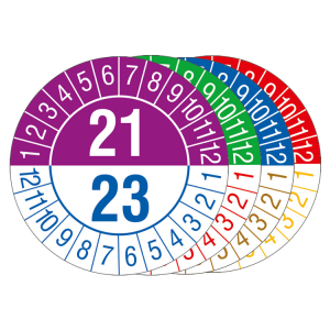 Prüfplaketten mit Jahresfarben (übergreifend, 3 Jahre), 2021 / 2023 - 2024 / 2026, Bogen (Zeitraum/Farbe: 2021-2023 / violett-blau (Art.Nr.: 30.c1060-21))