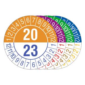 Prüfplaketten mit Jahresfarben (übergreifend, 4 Jahre), 2020 / 2023- 2023 / 2026, Bogen (Zeitraum/Farbe: 2020-2023 / orange-blau (Art.Nr.: 30.c1070-20))