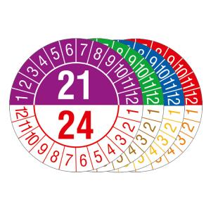 Prüfplaketten mit Jahresfarben (übergreifend, 4 Jahre), 2021 / 2024- 2024 / 2027, Bogen (Zeitraum/Farbe: 2021-2024 / violett-rot (Art.Nr.: 30.c1070-21))