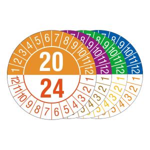 Prüfplaketten mit Jahresfarben (übergreifend, 5 Jahre), 2020 / 2024 - 2023 / 2027, Bogen (Zeitraum/Farbe: 2020-2024 / orange-rot (Art.Nr.: 30.c1080-20))