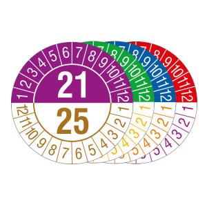 Prüfplaketten mit Jahresfarben (übergreifend, 5 Jahre), 2021 / 2025 - 2024 / 2028, Bogen (Zeitraum/Farbe: 2021-2025 / violett-braun (Art.Nr.: 30.c1080-21))