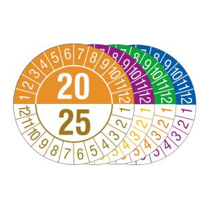 Prüfplaketten mit Jahresfarben (übergreifend, 6 Jahre), 2020 / 2025 - 2023 / 2028, Bogen (Zeitraum/Farbe: 2020-2025 / orange-braun (Art.Nr.: 30.c1090-20))
