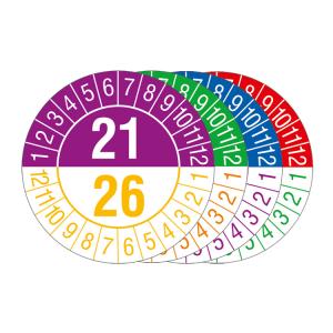 Prüfplaketten mit Jahresfarben (übergreifend, 6 Jahre), 2021 / 2026 - 2024 / 2029, Bogen (Zeitraum/Farbe: 2021-2026 / violett-gelb (Art.Nr.: 30.c1090-21))