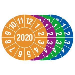 Prüfplaketten mit Schutzlackierung, mit Jahresfarbe (1 Jahr), 2020-2023, Jahreszahl 4-stellig (Jahr/Farbe: 2020 / orange (Art.Nr.: 30.c8005-20))