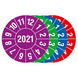 Prüfplaketten mit Schutzlackierung, mit Jahresfarbe (1 Jahr), 2021-2024, Jahreszahl 4-stellig (Jahr/Farbe: 2021 / violett (Art.Nr.: 30.c8005-21))