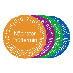 Prüfplaketten mit Schutzlackierung, mit Jahresfarbe, 2020 / 2025 - 2023 / 2028, Nächster Prüftermin (Zeitraum/Farbe: 2020-2025 / orange (Art.Nr.: 30.c8010-20))