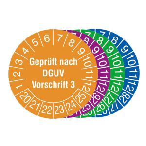 Prüfplaketten mit Schutzlackierung, mit Jahresfarbe (6 Jahre), 2020 / 2025 - 2023 / 2028, Geprüft nach DGUV Vorschrift 3, Bogen (Zeitraum/Farbe: 2020-2025 / orange (Art.Nr.: 30.c8015-20))