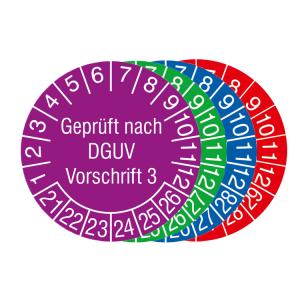 Prüfplaketten mit Schutzlackierung, mit Jahresfarbe (6 Jahre), 2021 / 2026 - 2024 / 2029, Geprüft nach DGUV Vorschrift 3, Bogen (Zeitraum/Farbe: 2021-2026 / violett (Art.Nr.: 30.c8015-21))