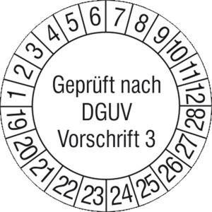 Prüfplaketten ohne Jahresfarbe (10 Jahre), nach DGUV Vorschrift 3, 2019 / 2024 - 2022 / 2031, Bogen (Zeitraum: 2020-2029 (Art.Nr.: 30.c2140-20))