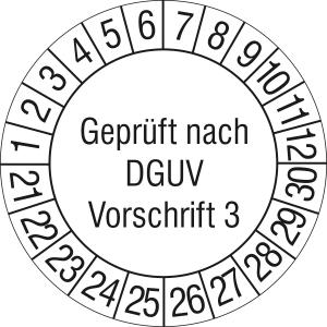 Prüfplaketten ohne Jahresfarbe (10 Jahre), nach DGUV Vorschrift 3, 2021 / 2030 - 2024 / 2033, Bogen (Zeitraum: 2021-2030 (Art.Nr.: 30.c2140-21))