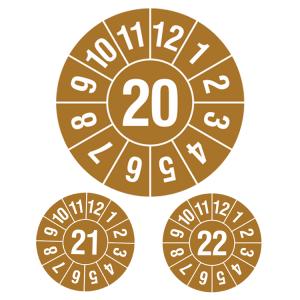 Prüfplaketten ohne Jahresfarbe (1 Jahr), 2020-2022, Jahreszahl 2-stellig, braun-weiß, Rolle (Jahr: 2020 (Art.Nr.: 31.c7003-20))