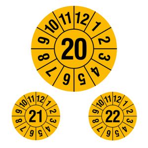 Prüfplaketten ohne Jahresfarbe (1 Jahr), 2020-2022, Jahreszahl 2-stellig, gelb-schwarz, Rolle