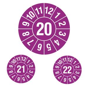 Prüfplaketten ohne Jahresfarbe (1 Jahr), 2020-2022, Jahreszahl 2-stellig, violett-weiß, Rolle (Jahr: 2020 (Art.Nr.: 31.c7004-20))