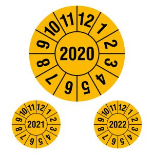 Prüfplaketten ohne Jahresfarbe (1 Jahr), 2020-2022, Jahreszahl 4-stellig, gelb-schwarz, Rolle