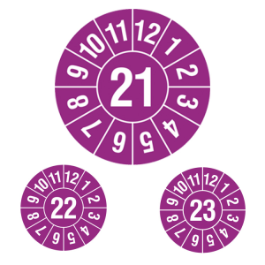 Prüfplaketten ohne Jahresfarbe (1 Jahr), 2021-2023, Jahreszahl 2-stellig, violett-weiß, Rolle (Jahr: 2021 (Art.Nr.: 31.c7004-21))