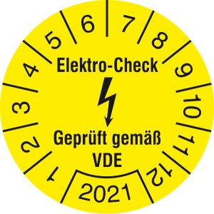 Prüfplaketten ohne Jahresfarbe (1 Jahr), Elektro-Check, Gepr. gem. VDE, 2021 - 2024, Bogen (Jahr: 2021 (Art.Nr.: 30.c3120-21))