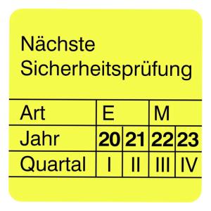 Prüfplaketten ohne Jahresfarbe (4 J.), Nächste Sicherheitsprüfung, 2020 / 2023 - 2023 / 2026, Bogen (Zeitraum: 2020-2023 (Art.Nr.: 30.0842-20))