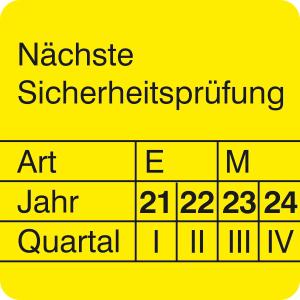 Prüfplaketten ohne Jahresfarbe (4 J.), Nächste Sicherheitsprüfung, 2021 / 2024 - 2024 / 2027, Bogen (Zeitraum: 2021-2024 (Art.Nr.: 30.0842-21))