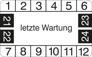 Prüfplaketten ohne Jahresfarbe (4 Jahre), letzte Wartung, 2021 / 2024 - 2024 / 2027, Bogen (Zeitraum: 2021-2024 (Art.Nr.: 30.3799-21))