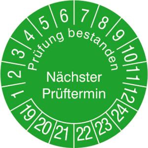 Prüfplaketten ohne Jahresfarbe (6 J.), Prüfung bestanden Nächster...,2019 / 2024 - 2022 / 2027, Bogen (Zeitraum: 2020-2025 (Art.Nr.: 30.3729-20))