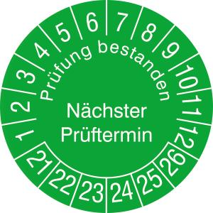 Prüfplaketten ohne Jahresfarbe (6 J.), Prüfung bestanden Nächster...,2021 / 2026 - 2024 / 2029, Bogen (Zeitraum: 2021-2026 (Art.Nr.: 30.3729-21))