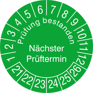 Prüfplaketten ohne Jahresfarbe (6 J.), Prüfung bestanden Nächster...,2021 / 2026 - 2024 / 2029, Rolle (Zeitraum: 2021-2026 (Art.Nr.: 31.3729-21))