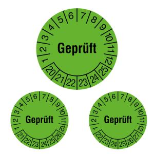 Prüfplaketten ohne Jahresfarbe (6 Jahre), 2020 / 2025 - 2022 / 2027, Geprüft, grün, Rolle (Jahre: 2020-2025 (Art.Nr.: 31.c7017-20))