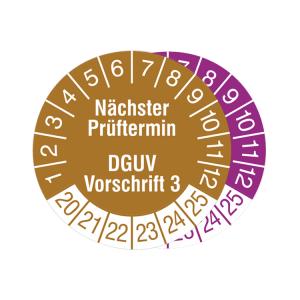 Prüfplaketten ohne Jahresfarbe (6 Jahre), 2020 / 2025 - 2022 / 2027, Nächster Prüftermin ..., Rolle