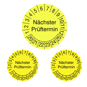 Prüfplaketten ohne Jahresfarbe (6 Jahre), 2020 / 2025 - 2022 / 2027, Nächster Prüftermin, gelb, Rolle