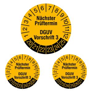 Prüfplaketten ohne Jahresfarbe (6 Jahre), 2020 / 2025 - 2022 / 2027, Nächster..., gelb-schwarz, Rolle