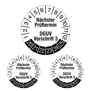Prüfplaketten ohne Jahresfarbe (6 Jahre), 2020 / 2025 - 2022 / 2027, Nächster..., weiß-schwarz, Rolle