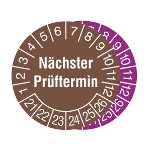 Prüfplaketten ohne Jahresfarbe (6 Jahre), 2021 / 2026 - 2023 / 2028, Nächster Prüftermin, Rolle