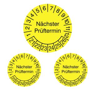 Prüfplaketten ohne Jahresfarbe (6 Jahre), 2021 / 2026 - 2023 / 2028, Nächster Prüftermin, gelb, Rolle