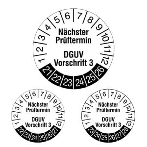 Prüfplaketten ohne Jahresfarbe (6 Jahre), 2021 / 2026 - 2023 / 2028, Nächster..., weiß-schwarz, Rolle (Jahre: 2021-2026 (Art.Nr.: 31.c7049-21))