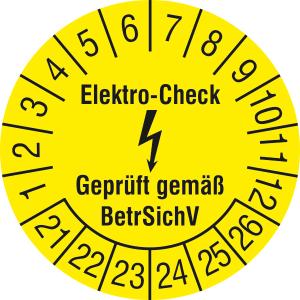Prüfplaketten ohne Jahresfarbe (6 Jahre), Elektro-Check Gepr. gem. BetrSichV, 2021 / 2026-2024 / 2029 (Zeitraum: 2021-2026 (Art.Nr.: 30.c3100-21))