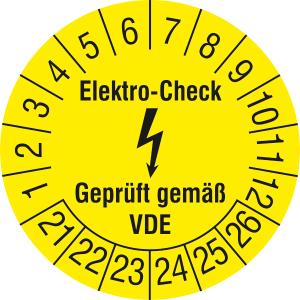 Prüfplaketten ohne Jahresfarbe (6 Jahre), Elektro-Check, Gepr. gem. VDE, 2021 / 2026 - 2024 / 2029 (Zeitraum: 2021-2026 (Art.Nr.: 30.c3110-21))