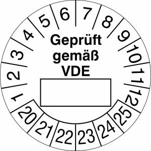 Prüfplaketten ohne Jahresfarbe (6 Jahre), Geprüft gemäß VDE, 2020 / 2025 - 2023 / 2028, Bogen