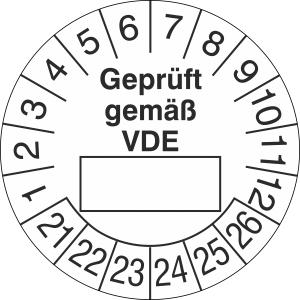 Prüfplaketten ohne Jahresfarbe (6 Jahre), Geprüft gemäß VDE, 2021 / 2026 - 2024 / 2029, Bogen