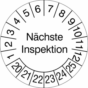 Prüfplaketten ohne Jahresfarbe (6 Jahre), Nächste Inspektion, 2020 / 2025 - 2023 / 2028, Rolle (Zeitraum: 2020-2025 (Art.Nr.: 31.3690-20))