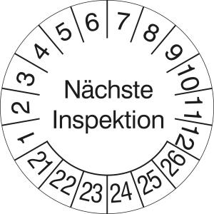 Prüfplaketten ohne Jahresfarbe (6 Jahre), Nächste Inspektion, 2021 / 2026 - 2024 / 2029, Bogen (Zeitraum: 2021-2026 (Art.Nr.: 30.3690-21))