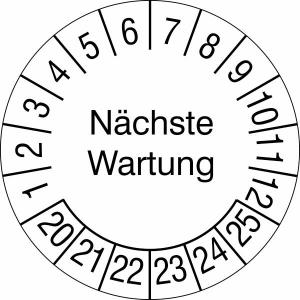 Prüfplaketten ohne Jahresfarbe (6 Jahre), Nächste Wartung, 2020 / 2025 - 2023 / 2028, Bogen (Zeitraum: 2020-2025 (Art.Nr.: 30.c2185-20))
