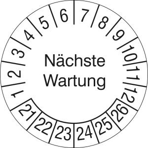 Prüfplaketten ohne Jahresfarbe (6 Jahre), Nächste Wartung, 2021 / 2026 - 2024 / 2029, Rolle (Zeitraum: 2021-2026 (Art.Nr.: 31.c2185-21))