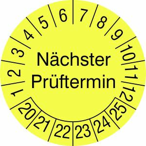 Prüfplaketten ohne Jahresfarbe (6 Jahre), Nächster Prüftermin, 2020 / 2025 - 2023 / 2028, Bogen (Maße Ø/Menge/Zeitraum: Ø 15 mm / 40er-Bogen<br>2020-2025 (Art.Nr.: 30.3725-20))