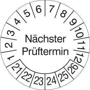 Prüfplaketten ohne Jahresfarbe (6 Jahre), Nächster Prüftermin, 2021 / 2026 - 2024 / 2029, Bogen