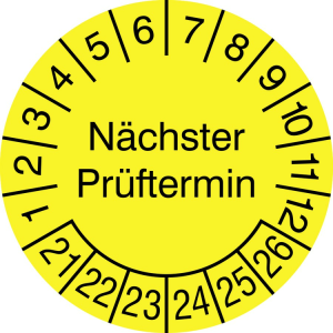 Prüfplaketten ohne Jahresfarbe (6 Jahre), Nächster Prüftermin, 2021 / 2026 - 2024 / 2029, Bogen (Maße Ø/Menge/Zeitraum: Ø 15 mm / 40er-Bogen<br>2021-2026 (Art.Nr.: 30.3725-21))