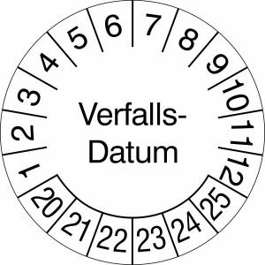 Prüfplaketten ohne Jahresfarbe (6 Jahre), Verfalls-Datum, 2020 / 2025 - 2023 / 2028, Rolle (Zeitraum: 2020-2025 (Art.Nr.: 31.3691-20))