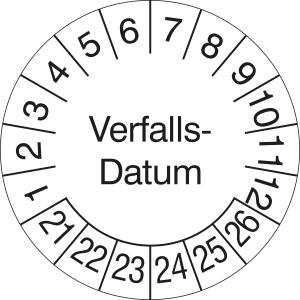 Prüfplaketten ohne Jahresfarbe (6 Jahre), Verfalls-Datum, 2021 / 2026 - 2024 / 2029, Bogen (Zeitraum: 2021-2026 (Art.Nr.: 30.3691-21))