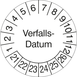 Prüfplaketten ohne Jahresfarbe (6 Jahre), Verfalls-Datum, 2021 / 2026 - 2024 / 2029, Rolle (Zeitraum: 2021-2026 (Art.Nr.: 31.3691-21))